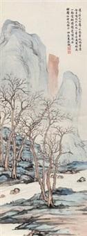 秋林泉石 (landscape) by xia jingguan