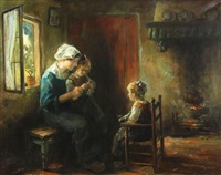 an interior scene with mother and children by cornelius christiaan zwaan