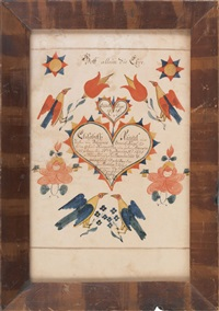 untitled (fraktur birth certificate for elizabeth riegel) by henry young