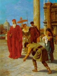 patriarch mit gefolge auf der piazetta in venedig by fedor poppe