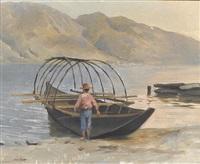 tessiner seeuferpartie mit fischer in einem boot by jules gachet