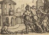 der zauberer virgil im korb, pl.1 (from die geschichte des zauberers virgil) by georg pencz