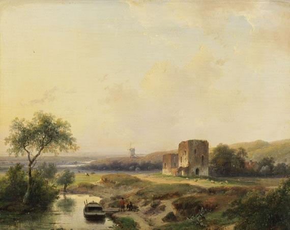 flusslandschaft bei haarlem mit windmühle und der ruine brederode by andreas schelfhout