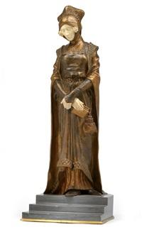 dame in historischer tracht, die treppe herabschreitend by dominique alonzo
