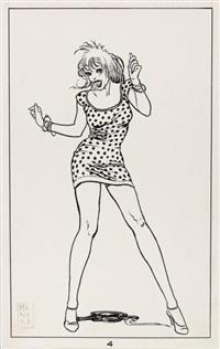 grande illustration représentant une femme en train de danser by milo manara