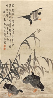 芦雁图 (the heron in the reed marsh) by xue huai
