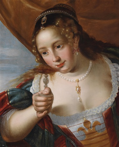 eine junge frau mit einer rotweintazza allegorie des geschmacks by simon de vos