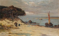mediterranean coastal view with fishermen at work on the beach by philippe-antoine audras