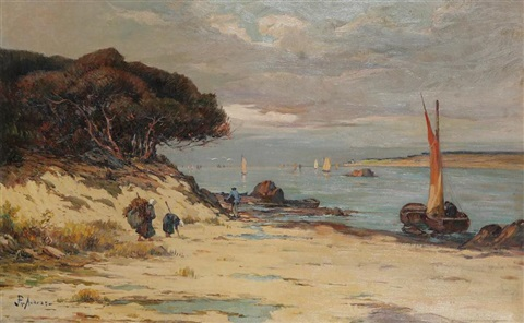 mediterranean coastal view with fishermen at work on the beach by philippe antoine audras