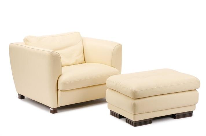 Cream Leather Chair U0026 Ottoman By Roche Bobois