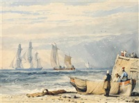 figures by a fishing smack with shipping off-shore by samuel prout