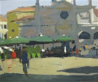 figures in a market square, italy by ken howard