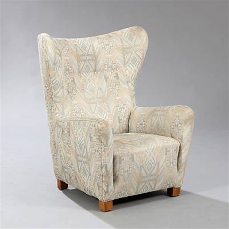 high back wing chair model by fritz hansen