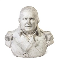 bust of a decorated admiral in epaulettes and a sash by anonymous-british