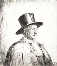 brustbild eines mannes mit zylinder (+ another imp. of same; 2 works) by francis h. dodd