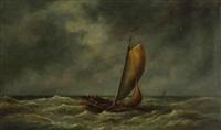 marine avec pêcheurs dans une chaloupe par temps orageux by bartol wilhelm van laar