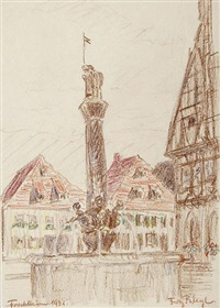 brunnen in forchheim (from sketchbook) by fritz bleyl