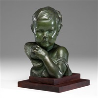 bust of child with apple by edgardo simone