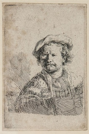 self portrait in a flat cap and embroidered dress by rembrandt van rijn