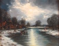 abendliche winterlandschaft mit zugefrorenem flusslauf by gernot rasenberger
