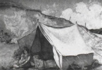 children camping by a chalk cliff by herbert alexander