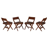library chairs (4 works) by pierre jeanneret