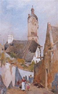 dorfstraße in stein mit blick auf die kirche by rudolf pichler