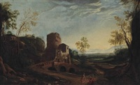 a wooded river landscape with figures conversing on a track, ruins beyond by herman van swanevelt