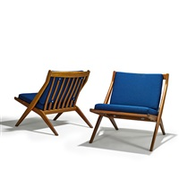 scissor lounge chairs (pair) by folke ohlsson