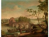 flusslandschaft mit bogenbrücke und am ufer anliegenden kähnen by paolo anesi