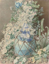 gladioli, irises, sweet peas, apple blossom, primulas and other spring flowers in an oriental vase by henry anelay