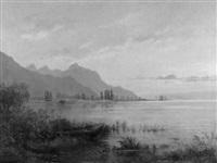 seelandschaft bei sonnenuntergang by adrien rené lobry-visbach
