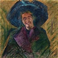 busto di signora con grande cappello by umberto boccioni
