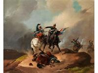 reitergefecht eines deutschen und französischen kavalleristen by richard benno adam