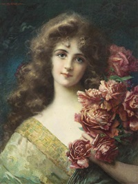 portrait of a lady with flowers by william h. mcentee