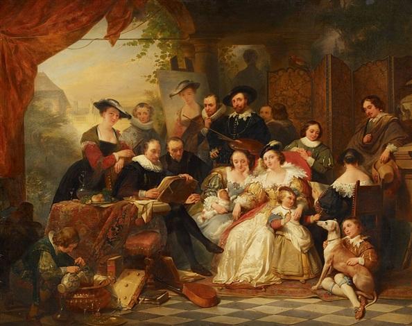 rubens im kreis seiner mäzene und familie historisierende ansicht im garten des rubenshauses by nicaise de keyser