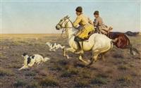 stürmische jagd in der steppe by hugo ungewitter