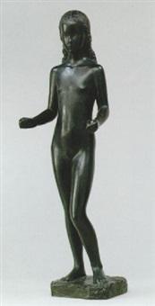 exaltation de la fleur - stående naken flicka by gunnar nilsson