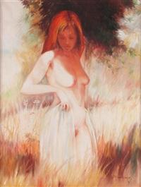 weibliche aktfigur in blühender wiese stehend by gernot rasenberger