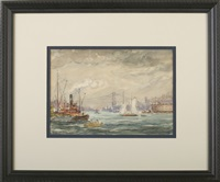 new york harbor with tugboat by reynolds beal