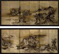 chinesische landschaft mit bogenbrücke, booten und personen (pair of six panel screens) by sansetsu