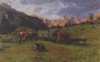 kühe am brunnentrog auf der bergweide by otto weber