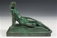 seated nude on stepped plinth by max kalish