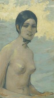 weiblicher halbakt mit schwarzer haube by fritz erler