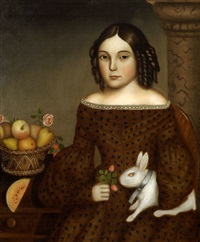 portrait of young girl with ringlets holding a white rabbit by horace bundy
