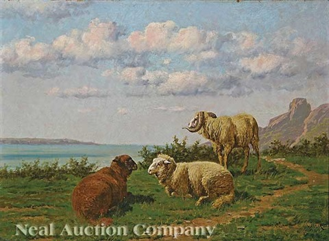 sheep and ram on a hillside by william baptiste baird