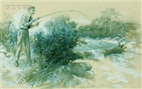 young man fishing by charles m. relyea