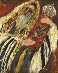 man praying with torah by isaac frenel