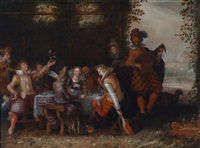 eine festliche tischgesellschaft im freien by david vinckboons