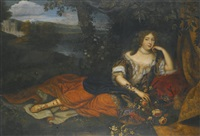 portrait of a court beauty, reclining in a landscape, a château in the distance by henri gascars